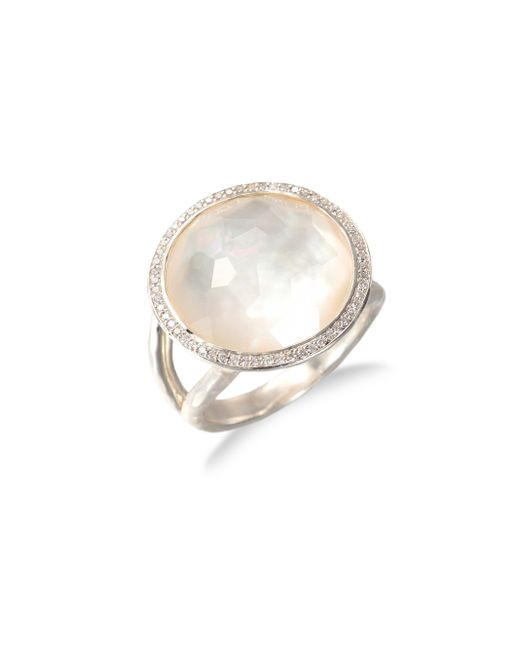 Ippolita | Metallic Stella Mother-of-pearl, Clear Quartz, Diamond & Sterling Silver Medium Doublet Cocktail Ring | Lyst
