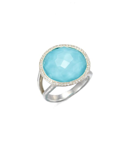 Ippolita | Metallic Stella Turquoise, Clear Quartz, Diamond & Sterling Silver Medium Doublet Cocktail Ring | Lyst