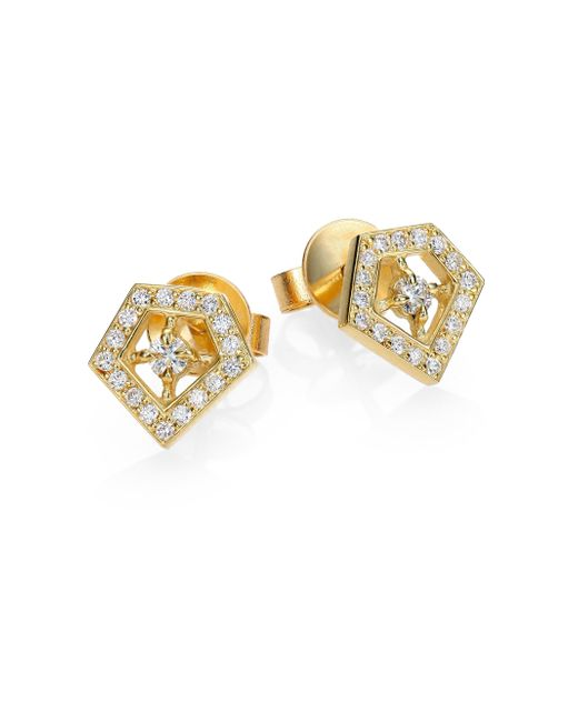 Ron Hami | Metallic Orighami Pave Diamond & 18k Yellow Gold Stud Earrings | Lyst