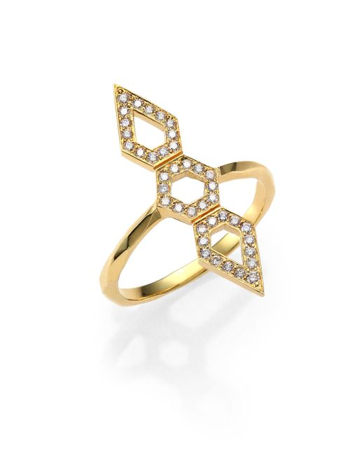 Ron Hami | Metallic Orighami Pave Diamond & 18k Yellow Gold Three-shape Totem Ring | Lyst