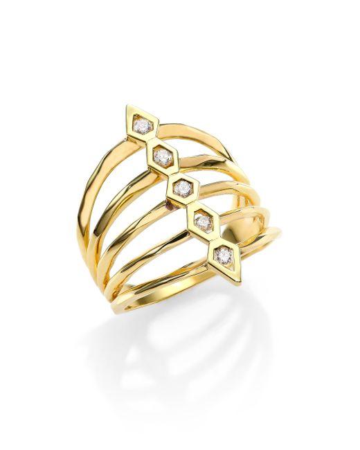 Ron Hami | Metallic Rain Diamond & 18k Yellow Gold Five-row Totem Ring | Lyst