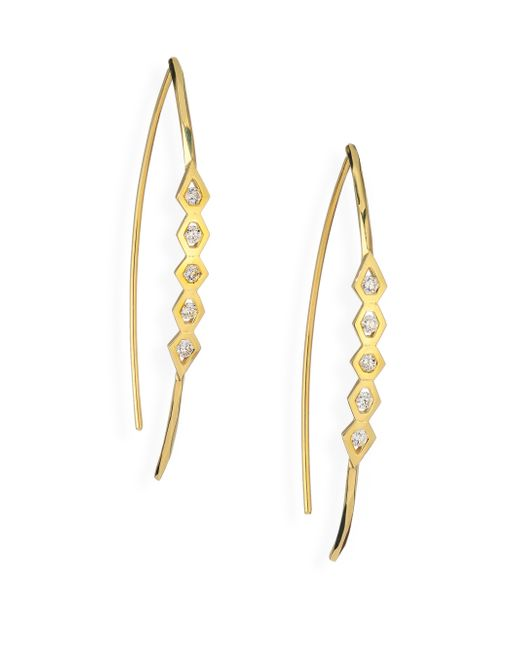 Ron Hami | Metallic Rain Diamond & 18k Yellow Gold Wishbone Threader Drop Earrings | Lyst