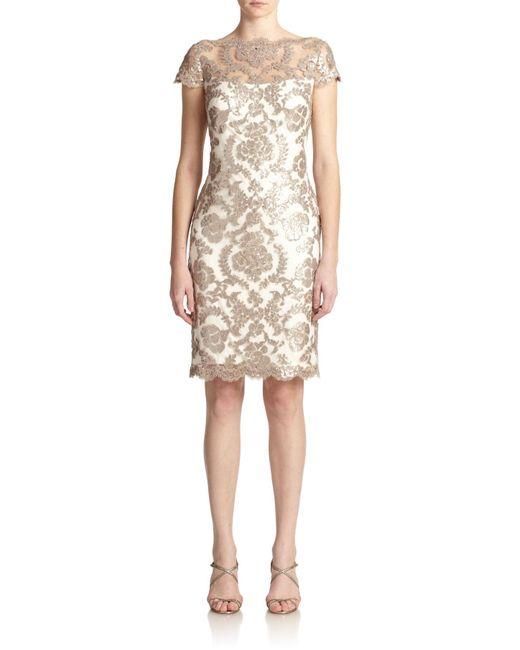 Tadashi Shoji | Natural Sequined Lace Sheath Dress | Lyst