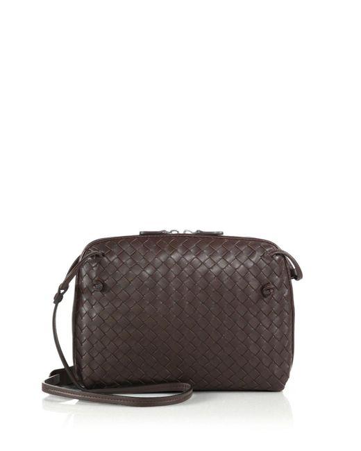 Bottega Veneta | Brown Small Pillow Intrecciato Leather Crossbody Bag | Lyst