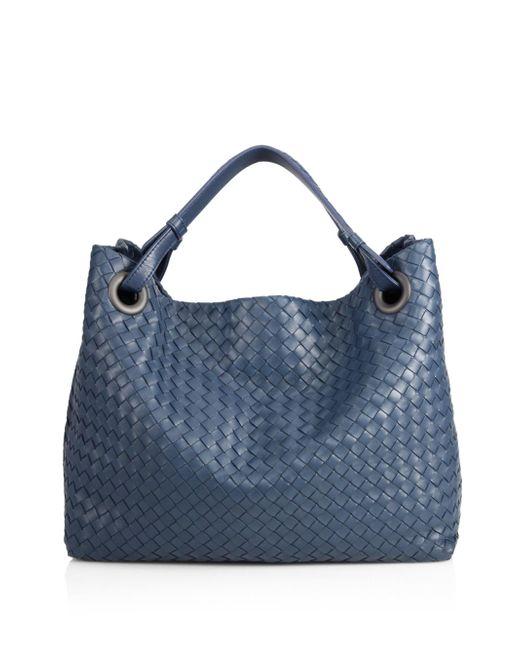 Bottega Veneta | Blue Intrecciato Top-handle Bag | Lyst