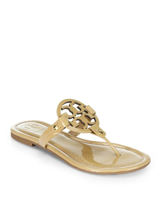 Tory Burch | Natural Miller Metallic Leather Sandals | Lyst