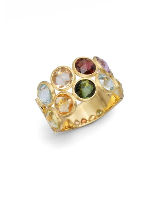 Marco Bicego | Metallic Jaipur Semi-precious Multi-stone & 18k Yellow Gold Two-row Ring | Lyst