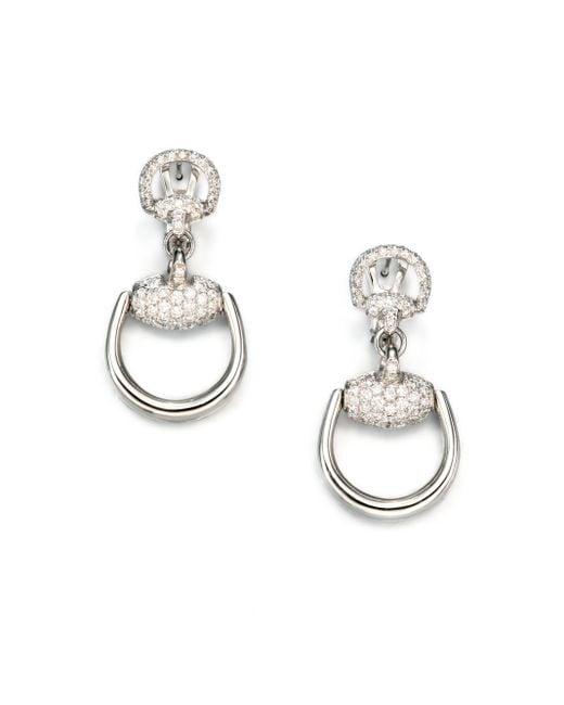 Gucci | Metallic Horsebit Diamond & 18k White Gold Drop Earrings | Lyst