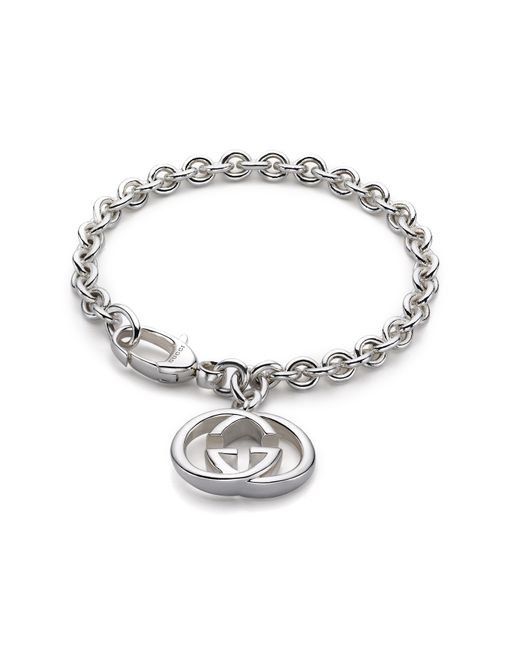 Gucci | Metallic Sterling Silver Double G Charm Bracelet | Lyst