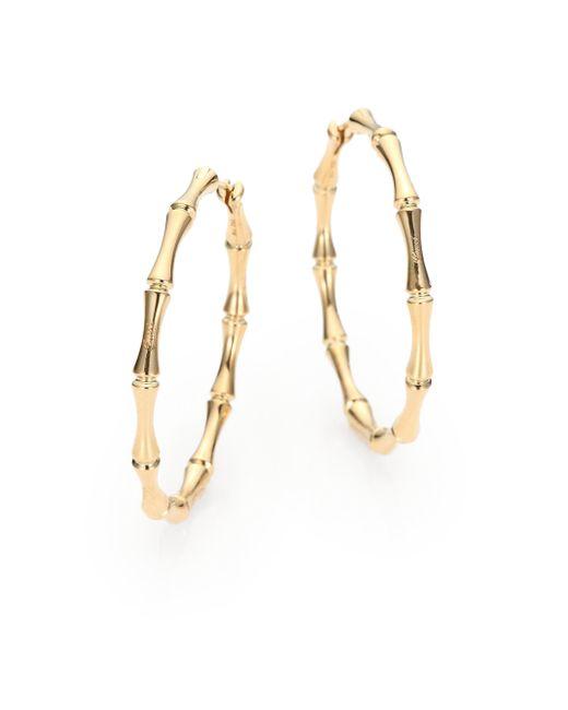 Gucci | Metallic Bamboo 18k Yellow Gold Hoop Earrings/1.5 | Lyst