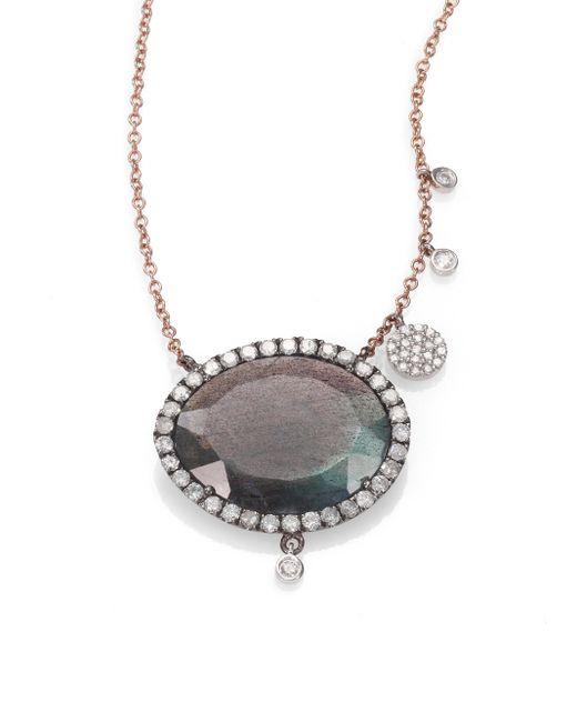 Meira T | Pink Labradorite, Diamond & 14k Rose Gold Pendant Necklace | Lyst