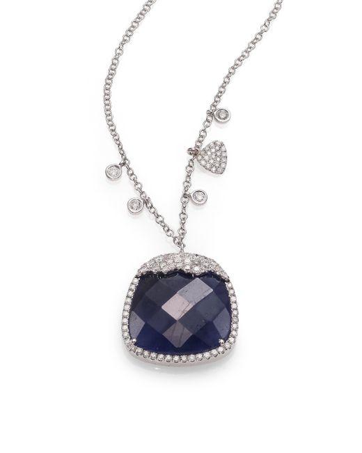 Meira T | Sapphire, Diamond & 14k White Gold Pendant Necklace | Lyst