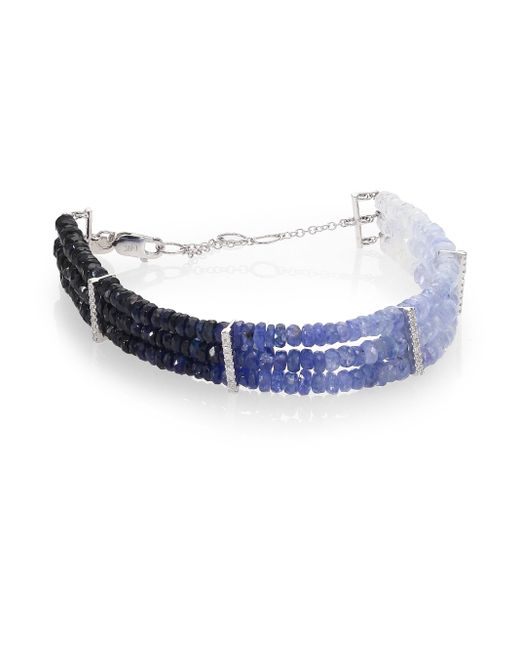 Meira T | Blue Sapphire & 14k White Gold Ombre Three-row Beaded Bracelet | Lyst