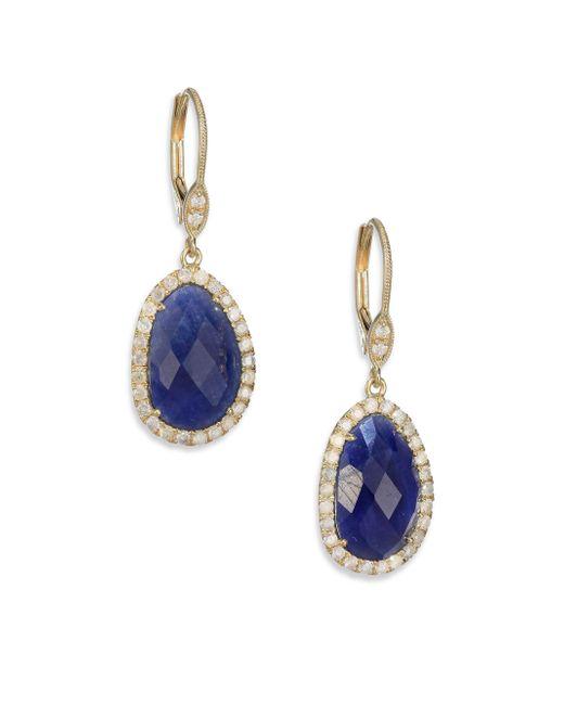 Meira T | Blue Sodalite, Diamond & 14k Rose Gold Stud Earrings | Lyst