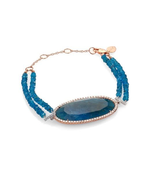 Meira T | Metallic Apatite, Diamond & 14k Rose Gold Two-row Beaded Bracelet | Lyst