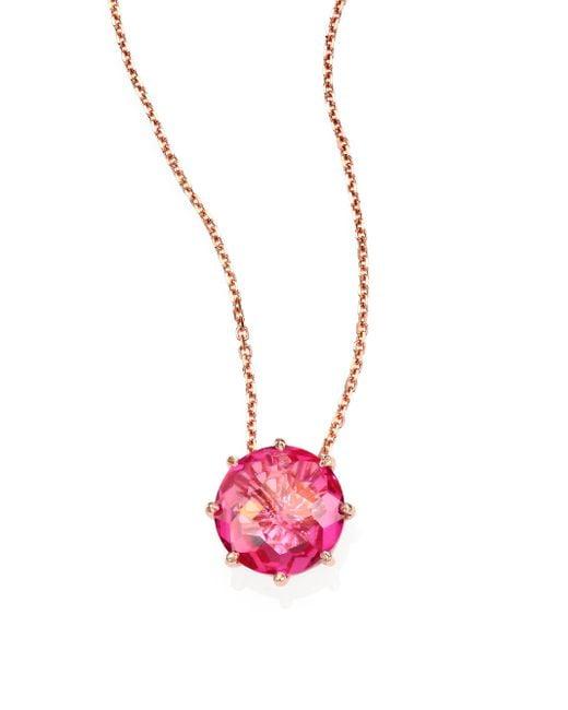 KALAN by Suzanne Kalan | Pink Topaz & 14k Rose Gold Round Pendant Necklace | Lyst