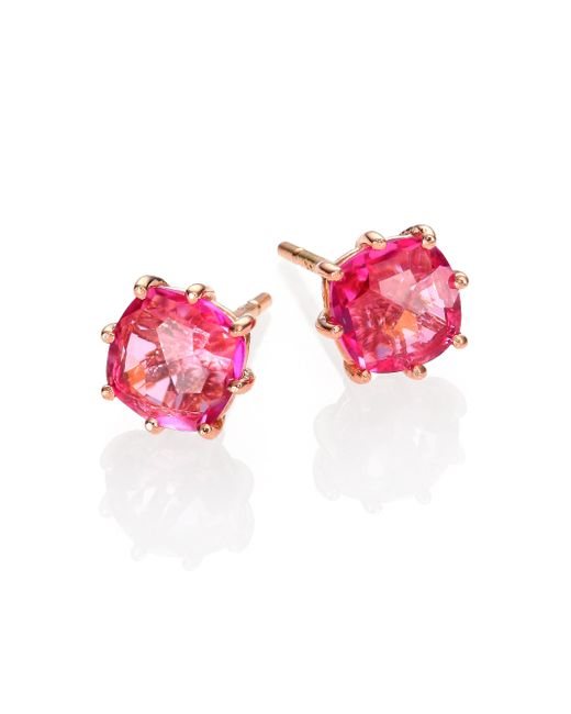 KALAN by Suzanne Kalan | Pink Topaz & 14k Rose Gold Cushion Stud Earrings | Lyst