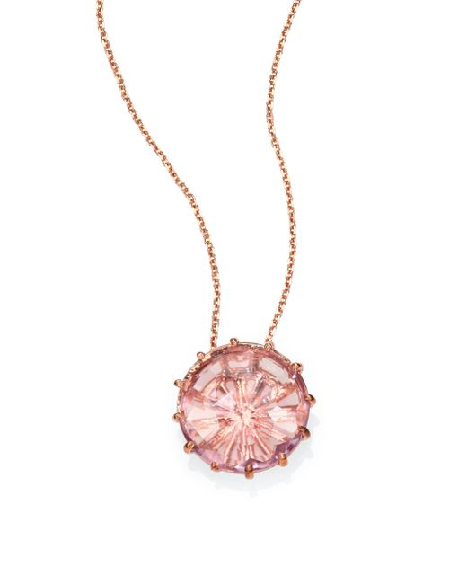 KALAN by Suzanne Kalan | Pink Rose De France & 14k Rose Gold Round Pendant Necklace | Lyst
