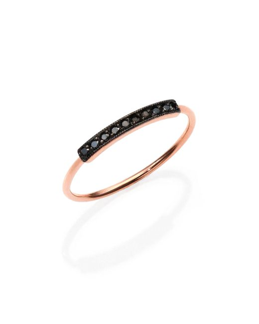 Zoe Chicco | Pink Pave Black Diamond & 14k Rose Gold Horizontal Bar Ring | Lyst