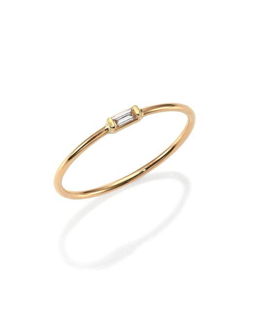 Zoe Chicco | Metallic Diamond & 14k Yellow Gold Horizontal Baguette Ring | Lyst