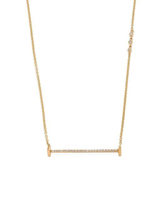 Paige Novick | Metallic Sasha Diamond & 18k Yellow Gold Small Flat Bar Necklace | Lyst