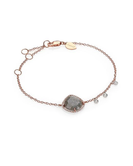 Meira T | Pink Labradorite, Diamond & 14k Rose Gold Chain Bracelet | Lyst