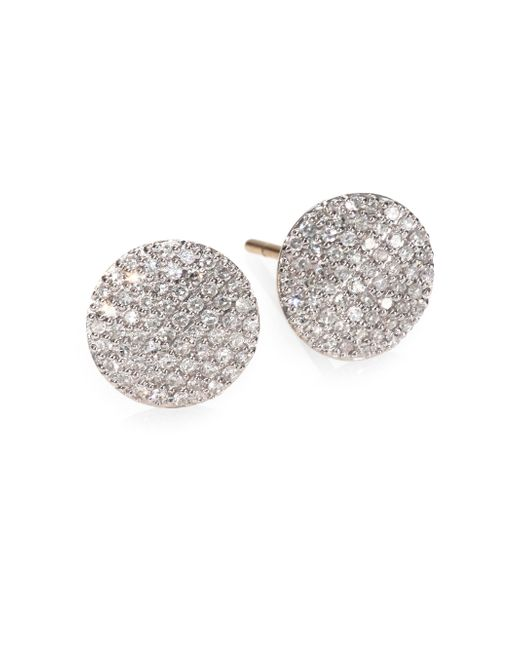 Phillips House | Metallic Pave Diamond & 14k Yellow Gold Infinity Stud Earrings | Lyst