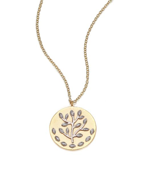 Meira T | Metallic Diamond & 14k Yellow & White Gold Tree Of Life Necklace | Lyst
