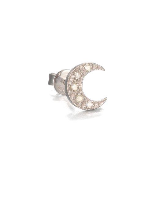 Sydney Evan | Diamond & 14k White Gold Crescent Moon Single Stud Earring | Lyst