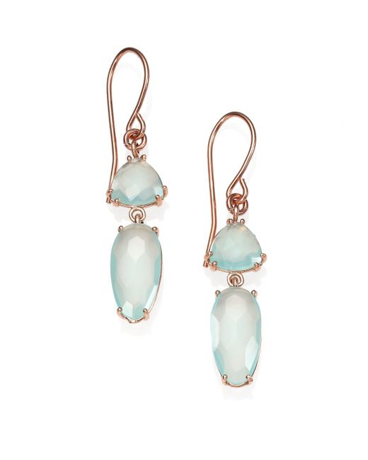 KALAN by Suzanne Kalan | Pink Blue Chalcedony & 14k Rose Gold Double-drop Earrings | Lyst
