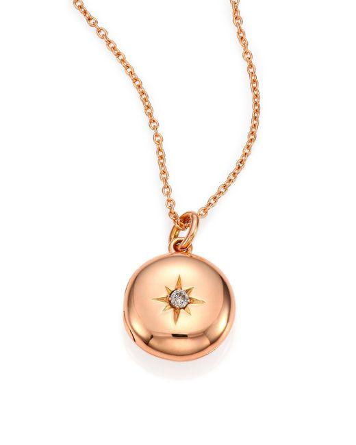 Astley Clarke   Metallic Diamond & 14k Rose Gold Small Astley Locket Necklace   Lyst