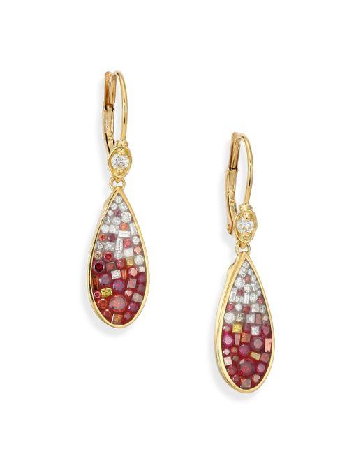 Plevé | Metallic Raspberry Ombre Diamond & 18k Yellow Gold Teardrop Earrings | Lyst