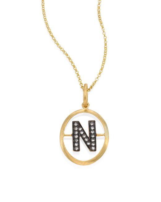 Annoushka   Metallic Initial Diamond & 18k Yellow Gold Pendant   Lyst