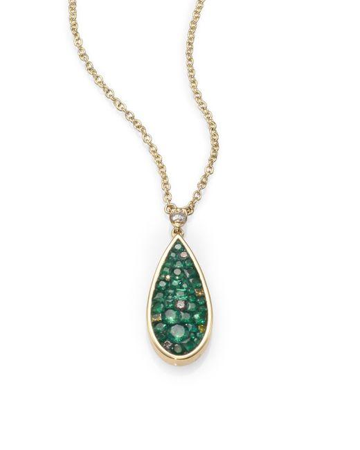 Plevé | Green Verde Tsavorite, Diamond & 18k Yellow Gold Teardrop Pendant Necklace | Lyst