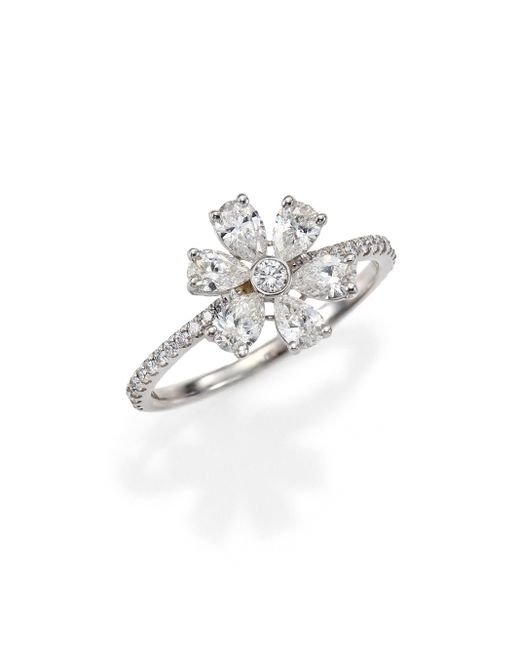 Kwiat | Elements Diamond & 18k White Gold Flower Ring | Lyst