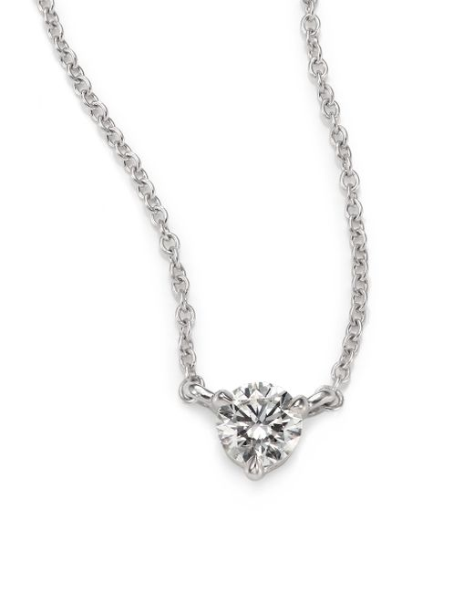 Kwiat | White Diamond & Platinum Small Solitaire Pendant Necklace | Lyst