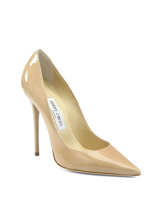 Jimmy Choo | Natural Anouk Patent Leather Point Toe Pumps | Lyst