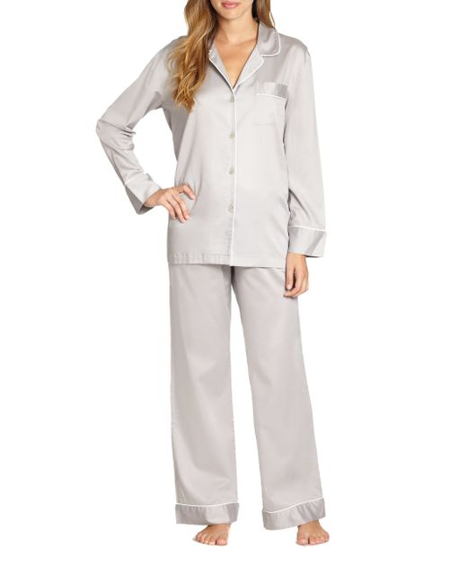 Natori | Gray Cotton Sateen Pajamas | Lyst