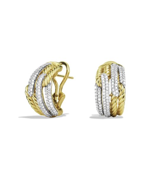 David Yurman | Metallic Labyrinth Double-loop Earrings With Diamonds In Gold | Lyst