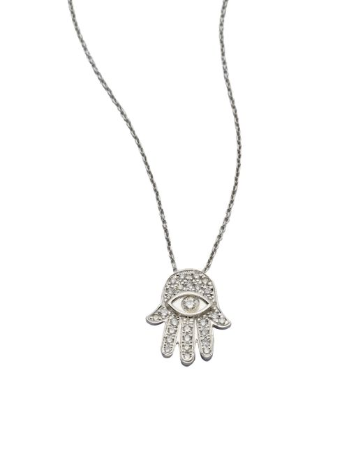 Roberto Coin | Tiny Treasures Diamond & 18k White Gold Hamsa Pendant Necklace | Lyst