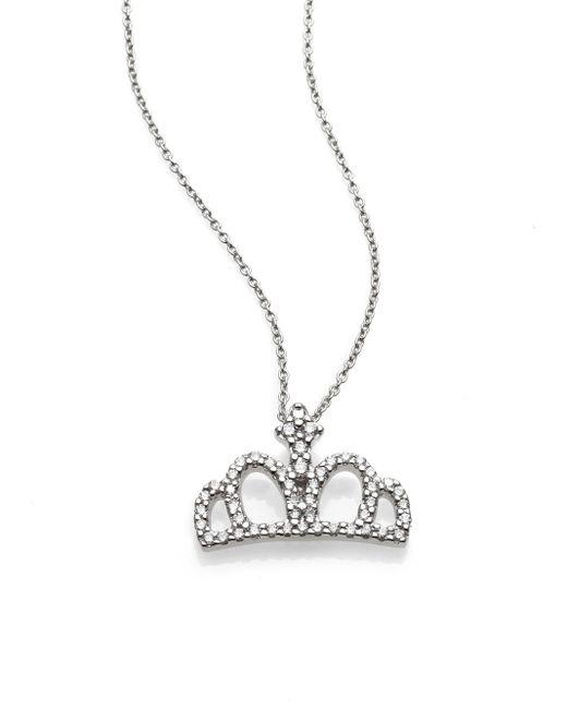 Roberto Coin | Metallic Tiny Treasures Diamond & 18k White Gold Crown Pendant Necklace | Lyst