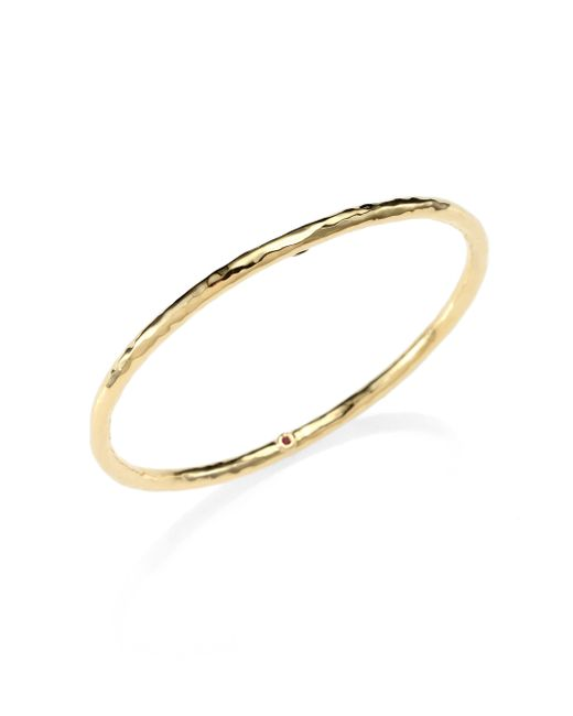Roberto Coin | Metallic Martellato 18k Yellow Gold Bangle Bracelet | Lyst