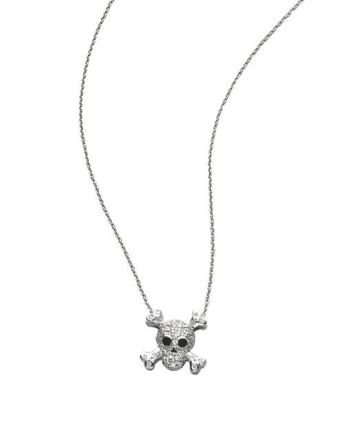 Roberto Coin | Tiny Treasures Diamond & 18k White Gold Skull Pendant Necklace | Lyst