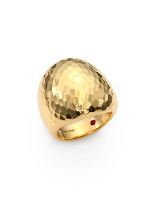 Roberto Coin | Metallic Martellato 18k Yellow Gold Oval Cocktail Ring | Lyst