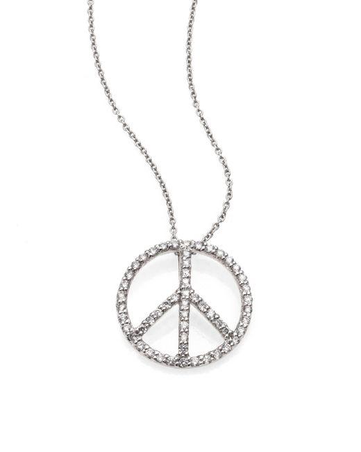 Roberto Coin | Metallic Tiny Treasures Diamond & 18k White Gold Medium Peace Sign Pendant Necklace | Lyst
