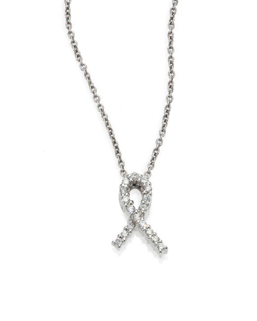 Roberto Coin | Metallic Tiny Treasures Diamond & 18k White Gold Hope Pendant Necklace | Lyst