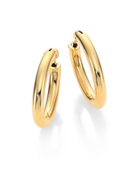Roberto Coin | Metallic 18k Yellow Gold Oval Hoop Earrings/1.05 | Lyst