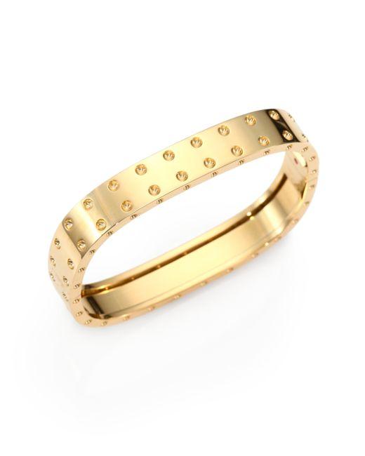 Roberto Coin | Metallic Pois Moi 18k Yellow Gold Two-row Bangle Bracelet | Lyst