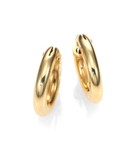 Roberto Coin | Metallic 18k Yellow Gold Petite Oval Hoop Earrings/0.75 | Lyst