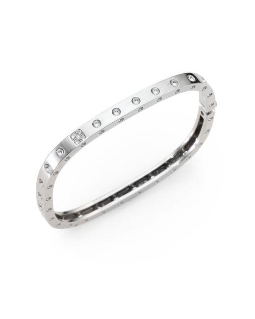 Roberto Coin | Metallic Pois Moi Diamond & 18k White Gold Single-row Bangle Bracelet | Lyst